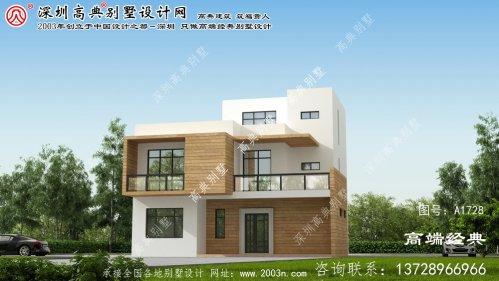 龙山县三层现代风格的平顶别墅,整体时