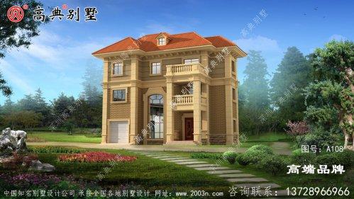 2层半别墅设计图外墙装修比较简约,带
