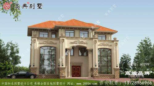 三层现代别墅外观效果图别墅非常的周正