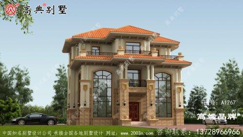双复式三层别墅采用橘屋顶配色给人以温