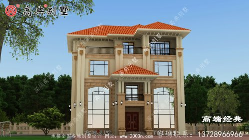 外墙搭配文化石和瓷砖,明亮而有内涵